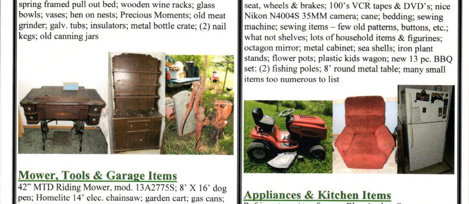 PUBLIC AUCTION August 10, 2019-10:00 A.M. 213 North Beech St. Colony, Kansas 66015